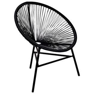 Lumarko Okrągłe krzesło ogrodowe, polirattan, czarne!