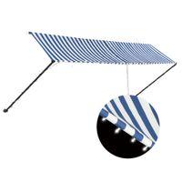 VidaXL Markiza zwijana z LED, 400 x 150 cm, niebiesko-biała