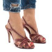 Różowe zamszowe sandały szpilki 9095-138 r.37