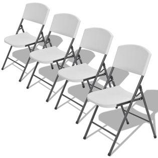 Lumarko Składane krzesła ogrodowe, 4 szt., stal i HDPE, białe!