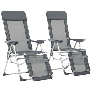 Składane Krzesła Turystyczne Z Podnóżkami, 2 Szt., Szare