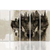 Obraz pięcioczęściowy na płótnie Canvas, pentaptyk typ C, Wilk na tle lasu - brązowy 100x70