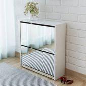 Szafka na buty z 2 półkami i lustrem, biała, 63x17x67 cm