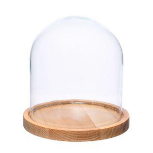 Szklany klosz z podstawką z drewna bukowego W-315H+deska