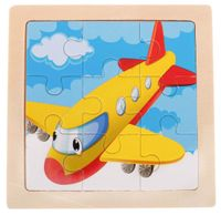 Puzzle Drewniane Układanka Samolot 9 El. 11X11 Cm