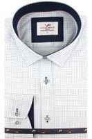 Koszula Męska Viadi Polo biała w kropki na długi rękaw w kroju SLIM FIT A441 XL 43 182/188