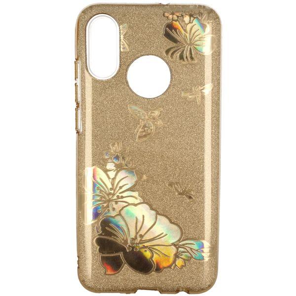 Etui Brokat Glitter Samsung Galaxy A7 2018 Złoty Kwiat zdjęcie 1