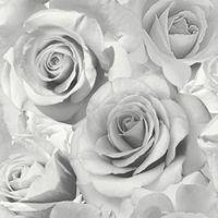 Tapeta Róże Kwiaty Szara z Brokatem 318764