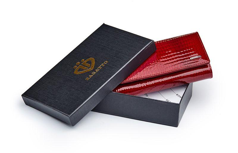 Czerwony skórzany portfel na suwak Zagatto ZG-55288-RS zdjęcie 7