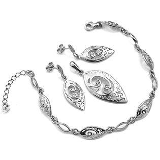 Komplet srebrny rodowany z cyrkoniami