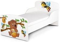 Łóżko dziecięce drewniane 140/70 z materacem Pszczółki i Miś