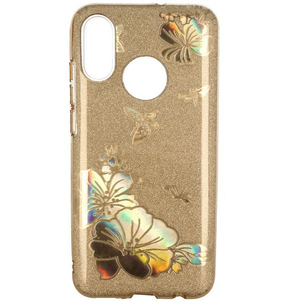Etui Brokat Glitter Samsung Galaxy A7 2018 Złoty Kwiat zdjęcie 2