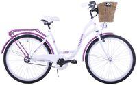 Rower miejski 26 damski Kozbike K36 1s biało-fioletowy