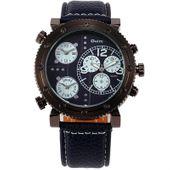 Zegarek męski Oulm 3421, trzy czasy,skórzany pasek, 4 kolory