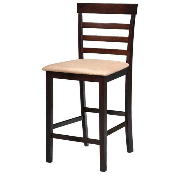 Stół Barowy I 4 Krzesła, Lite Drewno, Ciemnobrązowe zdjęcie 5