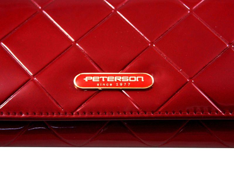Duży czerwony portfel damski, lakierowany, pikowany, RFID, Peterson zdjęcie 9
