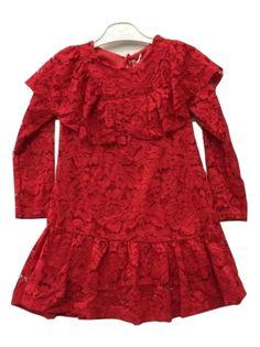 Elegancka czerwona sukienka koronkowa. roz.104