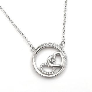 Naszyjnik srebrny rodowany serduszka