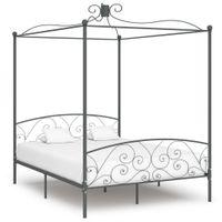 VidaXL Rama łóżka z baldachimem, szara, metalowa, 180 x 200 cm