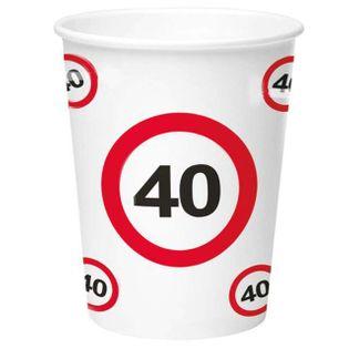 """Kubeczki papierowe """"40 Traffic Birthday"""", FOLAT, 350 ml, 8 szt"""