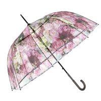 Przezroczysta, głęboka parasolka Perletti w kwiaty