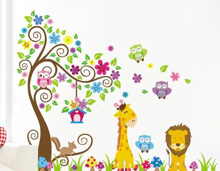 Naklejki Na ścianę ścienne Drzewo Zoo Zwierzęta Xxl Ws 0093 Arenapl