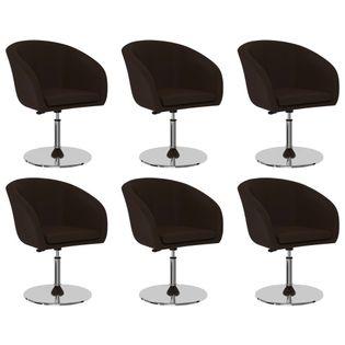 Krzesła stołowe, 6 szt., brązowe, sztuczna skóra