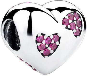 Charms Srebro - Różowe Serca