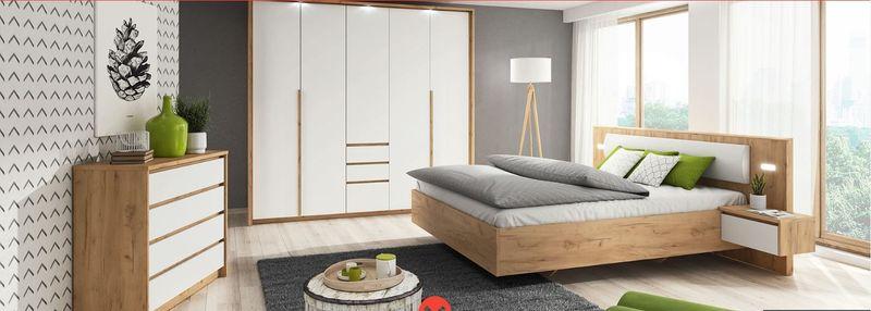 Sypialnia Lux Dąb Craft Złoty Biały łóżko Szafa I Komoda