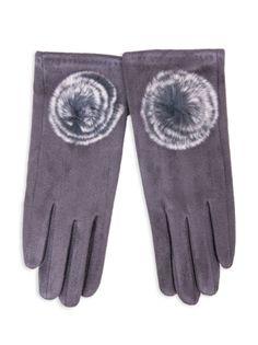 Rękawiczki dziewczęce zamszowe grafitowe futrzany pompon 21