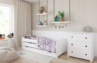 Łóżko EMMA 140x80 szuflada + barierka zabezpieczająca + MATERAC GRATIS