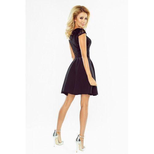 Sukienka rozkloszowana MARTA z koronką - CZARNA XL zdjęcie 3