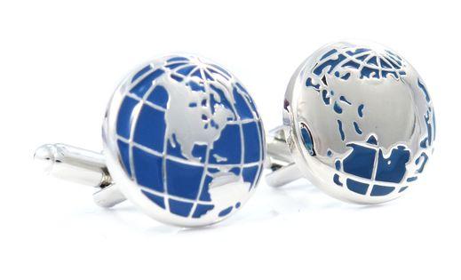 Srebrno-niebieskie spinki do mankietów - globus U51