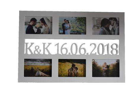 Multirama drewniana ramka na zdjęcia z inicjałami i datą ślubu