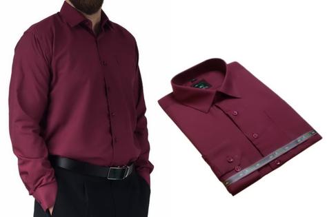 50/51 - 6XL Duża koszula męska bordowa elegancka Laviino