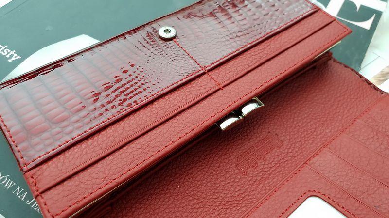 ea346c53760ec ALESSANDRO PAOLI portfel skórzany damski lakierowany cyrkonie P077 czerwony  zdjęcie 10