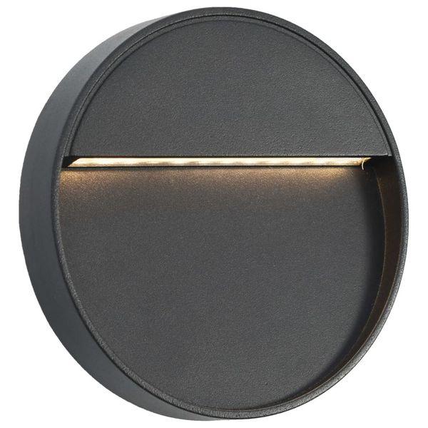 Lampy ścienne zewnętrzne LED, 2 szt., 3 W, czarne, okrągłe zdjęcie 2