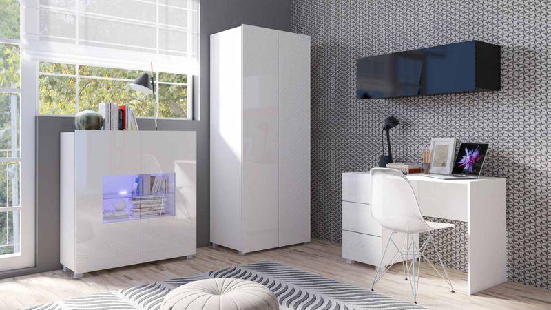 Inteligentny Meblościanka VELO 13 biały połysk, nowoczesna, z szafą i biurkiem JY87