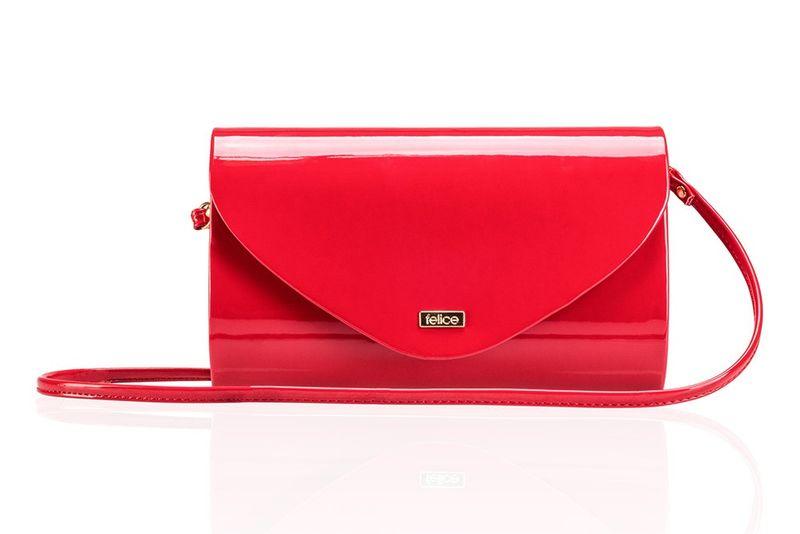 90d3028faa5e5 Czerwona damska lakierowana kopertówka stylowa torebka wieczorowa Felice  zdjęcie 2