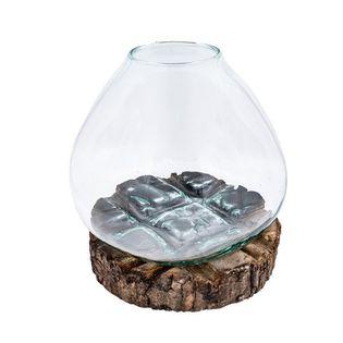 Ręcznie wylane szkło na drewnie 18-21cm