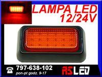 Lampa 18 LED 10x6 cm CZERWONA 2 włóknowa STOP+POZYJA 12v 24v