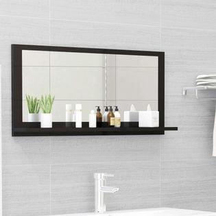 Lumarko Lustro łazienkowe, czarne, wysoki połysk, 80x10,5x37 cm, płyta