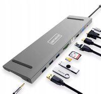 ADAPTER PRZEJŚCIÓWKA ZENWIRE USB-C 3.1 HUB 10W1 Stacja dokująca HDMI 4K/VGA/SD/JACK/USB 3.0/PD do MACBOOK Pro i Air , Dell XPS, HP Envy, Asus Zenbook ,Surface