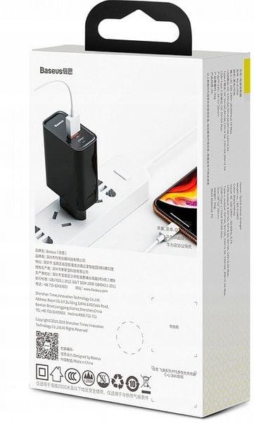 BASEUS ŁADOWARKA USB-C PD + USB QC 4 / 3 - 30W na Arena.pl