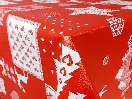 Cerata Świąteczna Święta Obrus Stół Czerwono-Biały 140x10 CA401