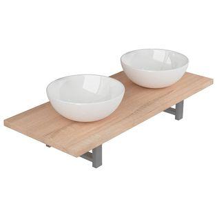 Trzyczęściowy Zestaw Mebli Do Łazienki, Ceramiczny, Dębowy