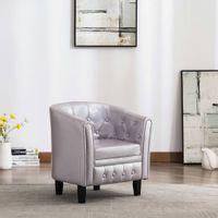 Fotel klubowy, srebrny, sztuczna skóra