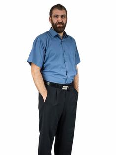 39/40 - M Koszula męska popielata-stalowa z krótkim rękawem 100% BAWEŁNA