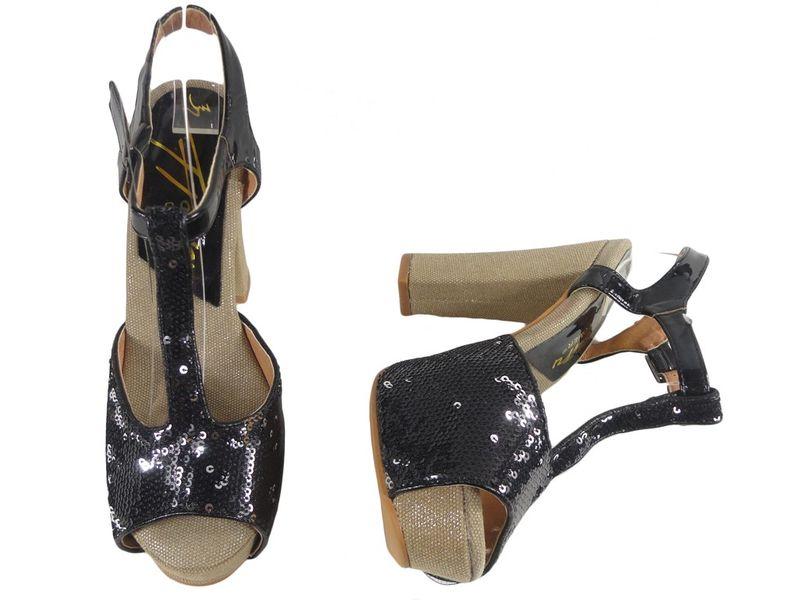 Czarne sandały na platformie i klocku z cekinami 36 na Arena.pl