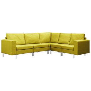 VidaXL 5-częściowy zestaw wypoczynkowy, tapicerowany tkaniną, żółty